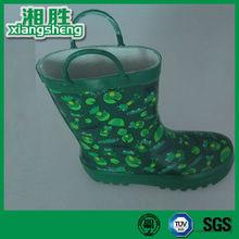 Frog Printed Green Handle Girl Rain Boots