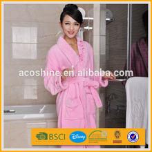 100% polyester fancy warm flannel fleece long bath gown for women