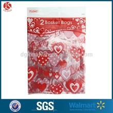 pack of 2 pp wholesale valentine gift basket wrap bag with 2 metallic twist tie