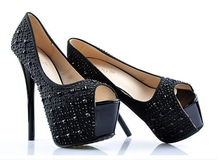 latest Fish head toe high heel for girls Sex women shoes with Rhinestone decoration