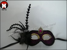 wholesale novelty halloween masquerade masks female half face mask peacock feather flower mask