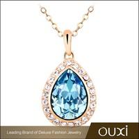 OUXI zinc alloy chain elegant womens jewelery 18k gold necklace made with Swarovski Elements 10580