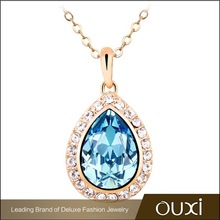 OUXI zinc alloy chain elegant womens jewelery 18k gold necklace made with Swarovski Elements 10580