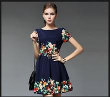 2014 Latest Design Woman Fashion Cotton Small Floral Print Dresses