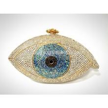 Eye Shape Crystal Evening Bag Swarovski element clutch bag rhinestone western handbag(S08171)