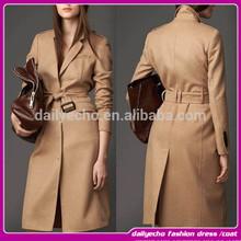 2015 New Coming spring /Autumn Lapel Collar Women Coat Fashion Ladies Elegant Gray Trench Coat manteau