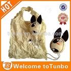Cute dog design shopping bag cheap nylon foldable shopping bag for promotion