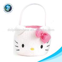 Cute colorful plush funny easter basket soft cat easter felt bag