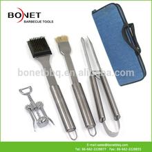 QZB0022 4Pcs Stainless Steel Bottle Opener BBQ Tool Set With Zipper Bag
