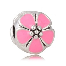 European style rose red cherry bloom silver stop clip beads charms for bracelet & necklace wholesale ECB009