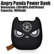 7800mAh Panda USB Battery Charger 2 Port Power Bank for Mobile Electronics Made in China - Black