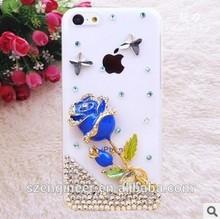 DIY hand made diamond set blue rose phone case for Iphone 4S
