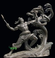 Bronze hero fighting snake sculpture