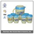 De plástico jarra de agua/jarra 2000ml + 270ml*6pcs taza