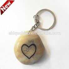 2015 new engraved rain flower stone key chain/ engraved stone key chain