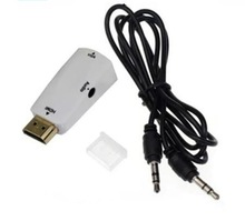 Portable Male HDMI to VGA Converter Cable with Audio for Projector Monitor