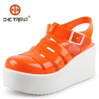 2015 new arrival wedges roman shoes crystal jelly shoes plastic pvc woman sandals