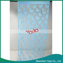 Butterfly Pattern Blue Window Cotton Curtain