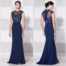 Elegant Scoop Neckline Cheap Flower Lace With Beading Royal Blue vestito dalla madre Chinese Style Mother Of the Bride