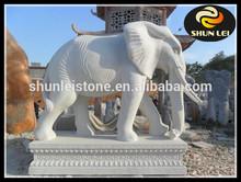 White Marble Elephant Statue, Stone Elephant Sculpture