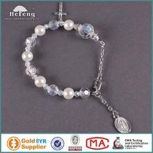 Wholesale imitation pearl bead rosary bracelet bangles