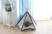 Christmas teepee,Cotton Fabric pet teepee tent dog cat house with printing and EN71 rohs certification