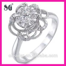 fashion zirconia stone beautiful design wedding ring silver customized/beautiful customer design silver flower wedding ring