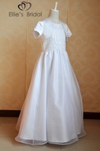 2015 Fashion design long dresses for girls of 9 years/kids princess girls first communication dress decoration with pearls