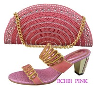 BCH01 pink italy design low heel shoes with matching crystal rhinestone bag flat women shoes and bag set