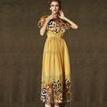 El más reciente productos maxi vestidos de las damas impreso leopard moda casual femenina de largo de gasa vestido nuevo estilo de ropa de mujer de 2015(5264)