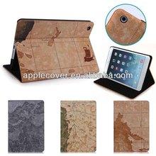 Map Design Leather Case for iPad Mini 1/2/3,housing for ipad Mini