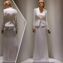 su misura squisita pavimento bianco lungo madre della sposa dsresses con giacca plus size termine di consegna veloce