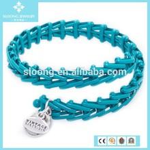 Turquoise Plastic Chain Charm Bracelet