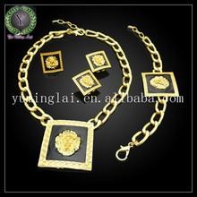 popular lion design 24k gold plated jewelry set ,big fashion heavy jewelry set