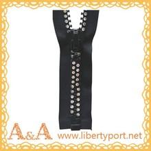 #8 decorative diamond zipper with two line diamond and colored tape O/E A/L