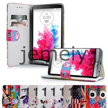 2015 New Printed Wallet PU Leather Cover for LG G3 Case with stylus