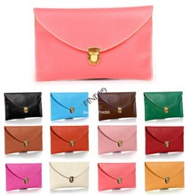 Fashion envelope clutch Shoulder Synthetic Leather handbag china supplier women's bag 12 Colors 13255