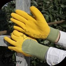 SRSAFETY 13g nylon coated 3/4 coated yellow foam rubber glove