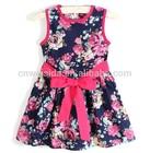 floral printed bow kids dress for lovely girls dress