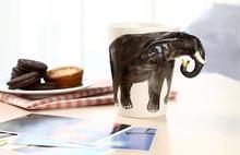 Custom Logo Porcelain Ceramic 3D Animal Shaped Elephant Handle Mug