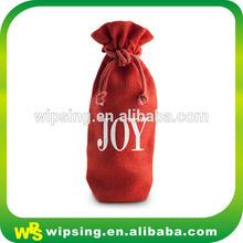 Unique design red drawstring linen pouch for wine bottle