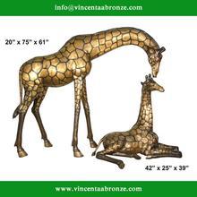 Customed modern garden sculpture bronze giraffe gifts