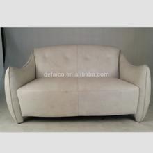 Retro White 2 Seater OX Cow Leather Sofa