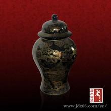 Decoración del hogar negro esmaltado de cerámica tarros de cristal para 2015 año nuevo