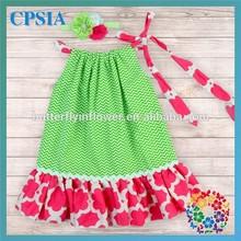 Green Chevron Hot Pink Floral Cotton Girls Pillowcase Dress Wholesale Boutique Clothing China Wholesale