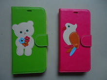 Cartoon Stitching Bear Bird Sewing Side PU Leather Flip Slim Magnetic Mobile Phone Cellphone Cases With Card Holder For New i6