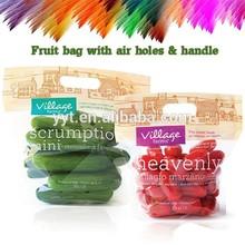 Plastic printed fresh fruit bag with slider ziplock with air holes