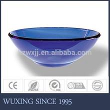 Hot Sales Good Reputation New Design Blue Coloured Graceful Shape Glass Bowl Set For Bathroom