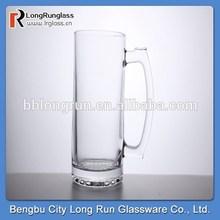 LongRun 2015 hot selling 450ml machine pressed elegant wheat beer glass cup with handle draft beers cup