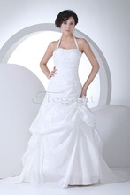 Guangzhou Manufacturer 2015 Wedding Dresses A-Line Halter Bling Bling Lace Up at Back Chapel Train Bridal Gown H1055